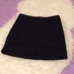 Navy layer effect pencil mini skirt